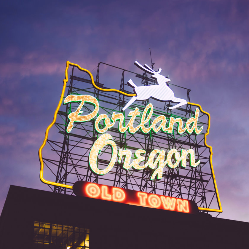 Photo: Portland, Oregon 'White Stag' neon sign